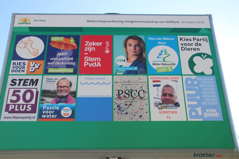 Pre printed election poster billboard for the water authority Delfland in Voorburg in the Netherlands on march 20th, 2019. stock images