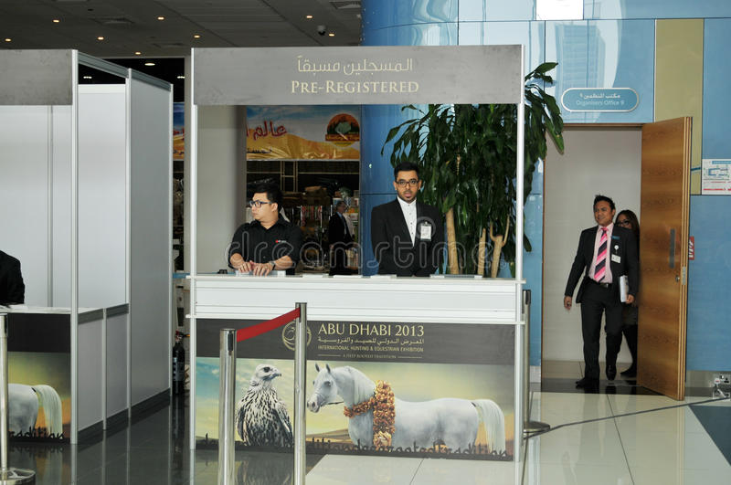 Pre Registered Counter - Abu Dhabi International Hunting and Equestrian Exhibition (ADIHEX). Pre Registered Counter at Abu Dhabi International Hunting and stock images