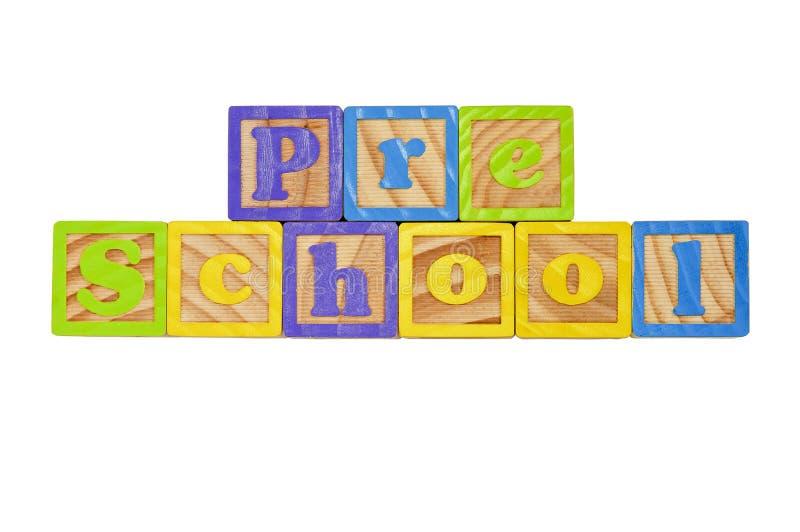 Pre School. Childrens Alphabet Blocks spelling the words Pre School royalty free stock photo