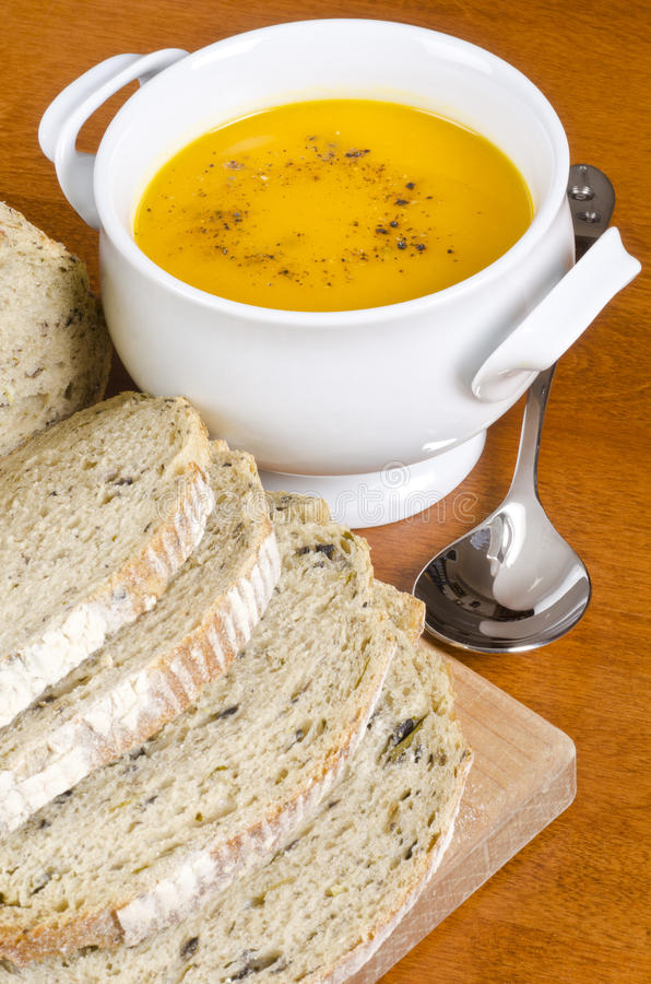 Download Pre-sliced Bread And Carrot Soup Stock Images - Image: 22014114