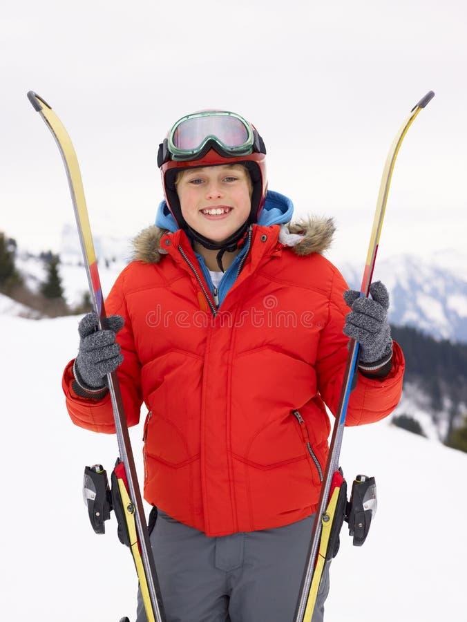 Download Pre-teen Boy On Ski Vacation Stock Image - Image: 20116713