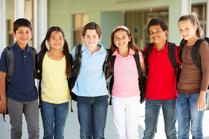 Pre teen children at school stock image