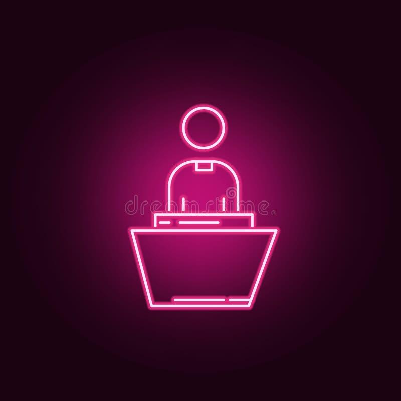 Preacher neon icon. Elements of Religion set. Simple icon for websites, web design, mobile app, info graphics stock illustration