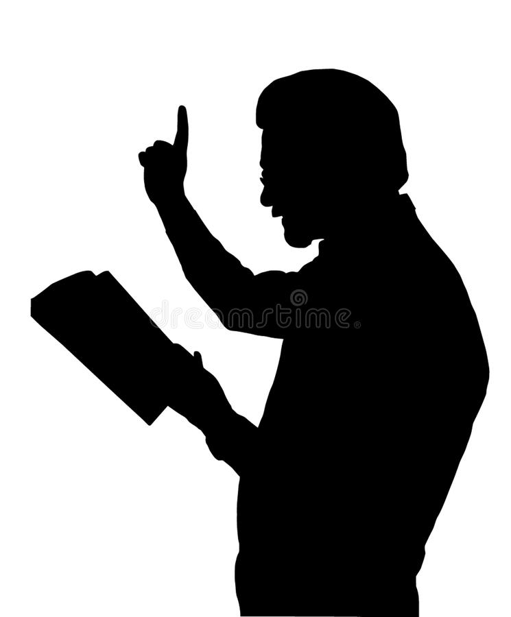 Preacher Teaching from Bible vector illustration