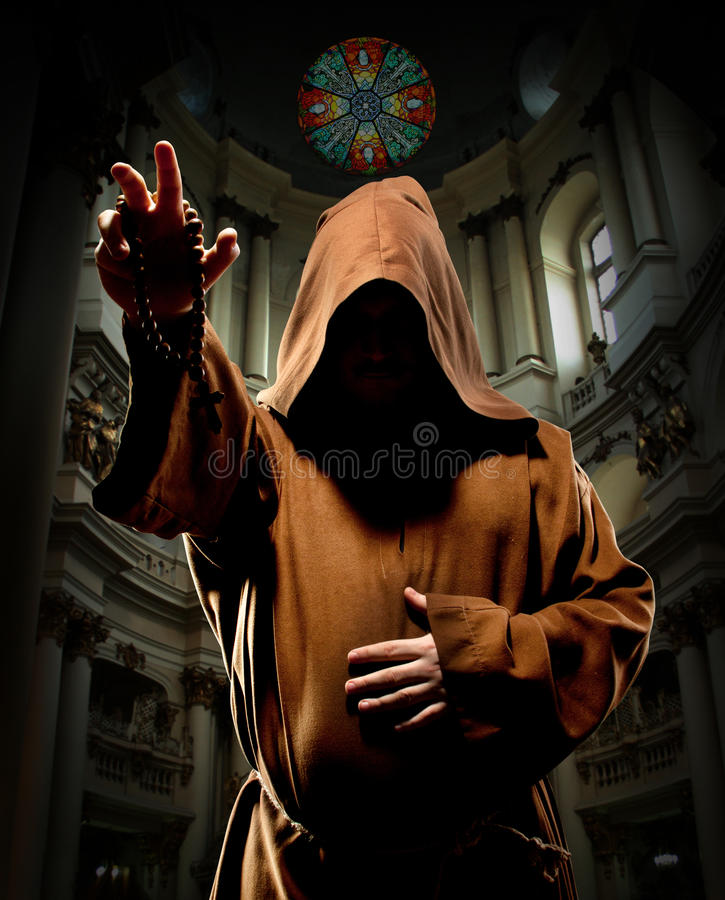 Free Preaching Monk In Church Stock Images - 19721194