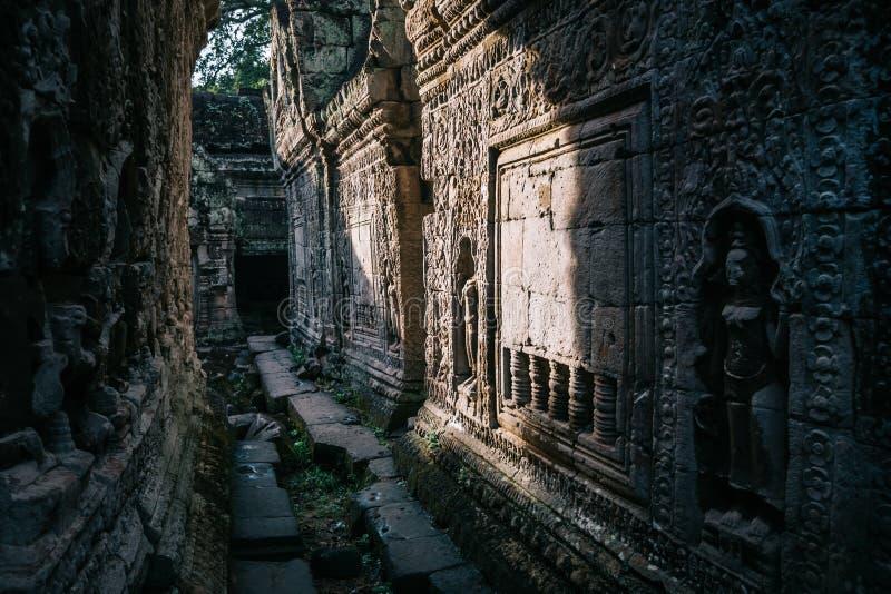Preah可汗古庙在Ankgor,柬埔寨 免版税库存图片