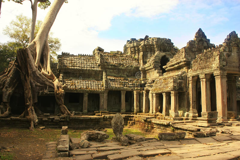 Preah Khan temple, Angkor area, Siem Reap, Cambodia. Southeast Asia royalty free stock images