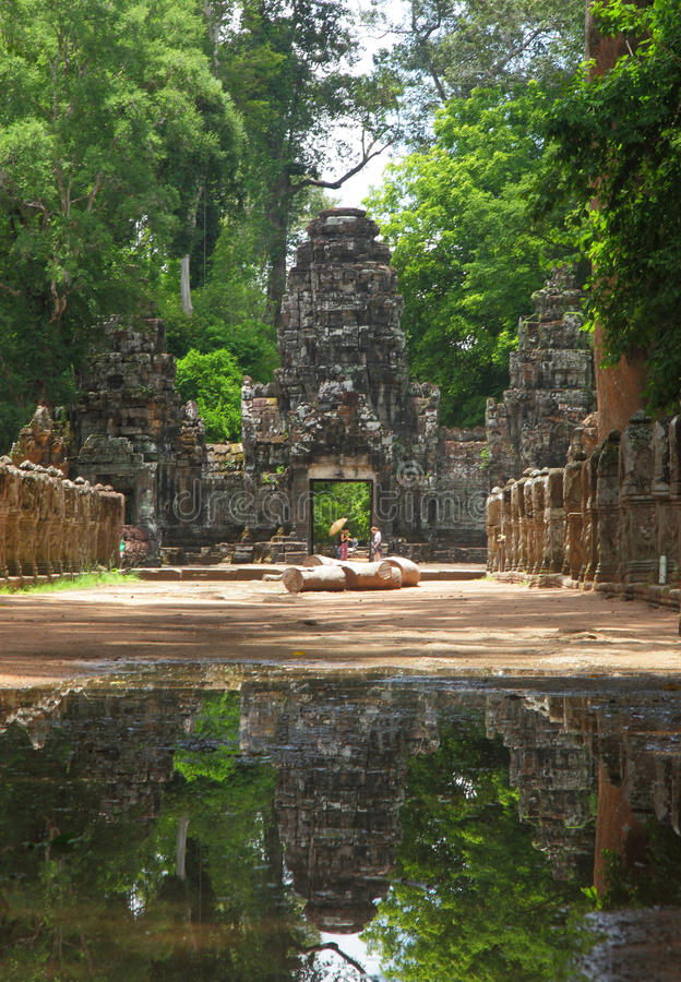 Preah Khan Temple in AngKor Wat. Preah Khan Temple is located north of Angkor Tom. There are two enterences to approach the temple. ( East and west. The image is stock images