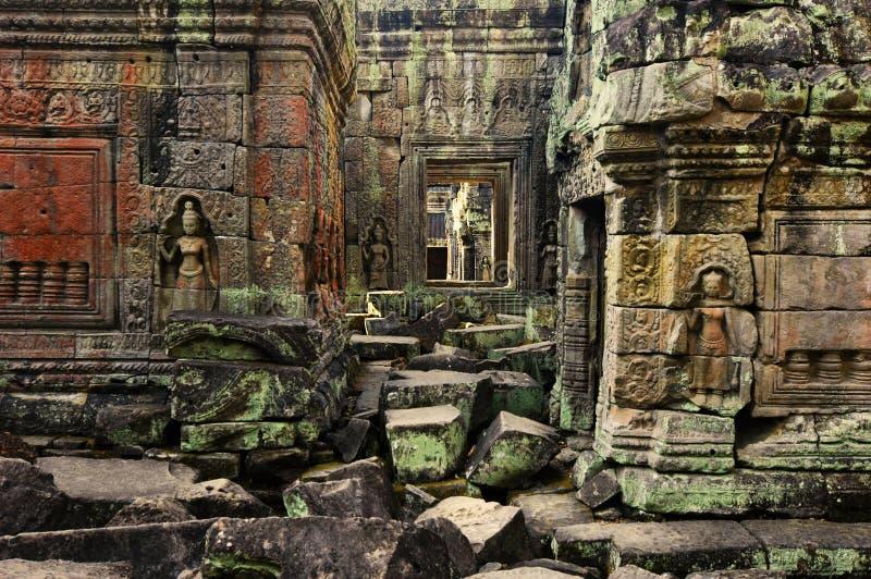 Preah Khan Temple Apsaras Statues stock photos