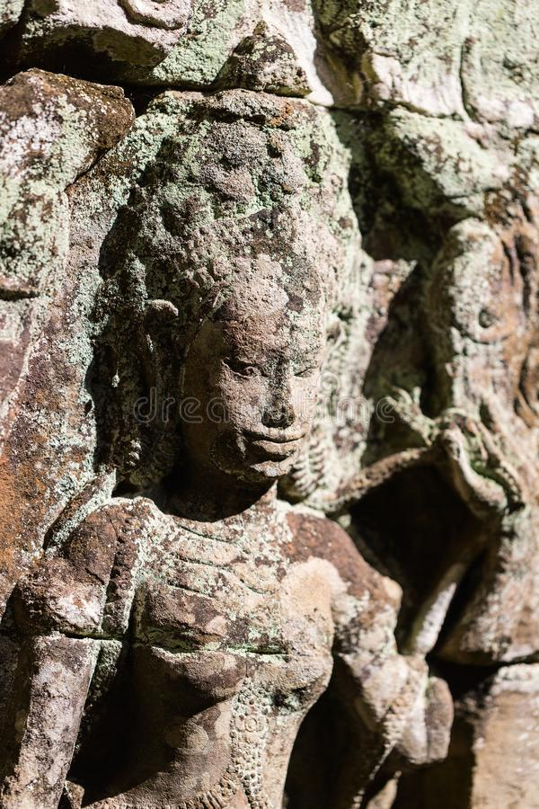 Preah Khan temple. Bas reliefs in Preah Khan in Angkor Archaeological area in Cambodia royalty free stock image