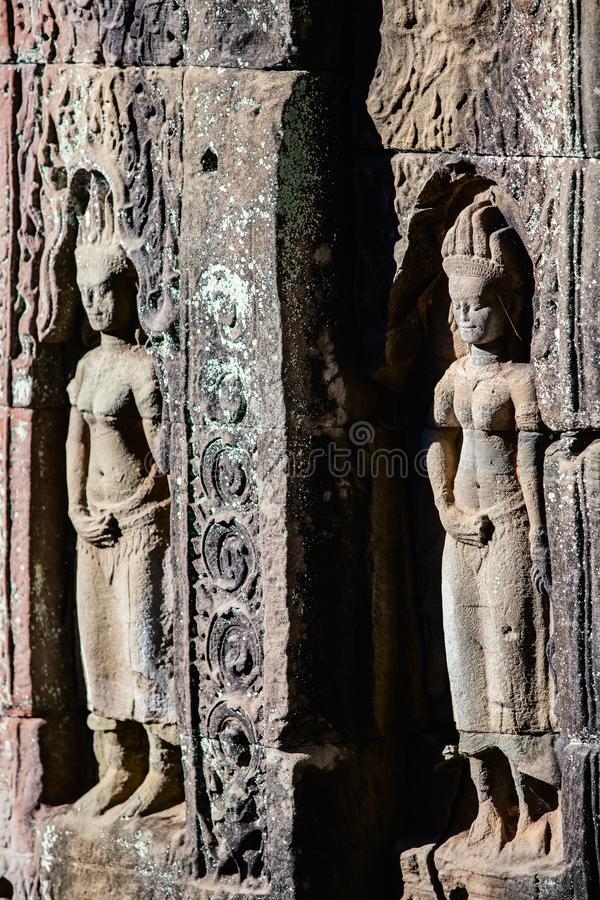 Preah Khan temple. Bas reliefs in Preah Khan in Angkor Archaeological area in Cambodia stock photography