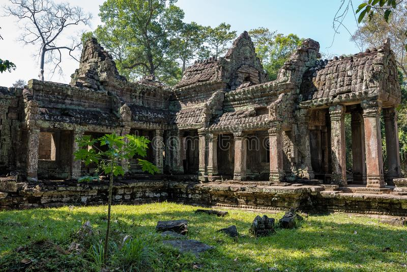 Preah Khan temple in complex Angkor Wat in Siem Reap, Cambodia. In a summer day royalty free stock photography