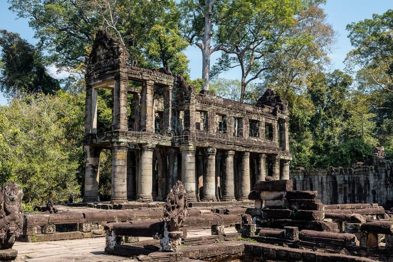Preah Khan temple in complex Angkor Wat in Siem Reap, Cambodia royalty free stock photo
