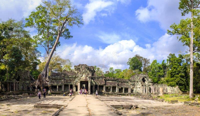 Preah Khan Temple panoramasikt royaltyfria bilder