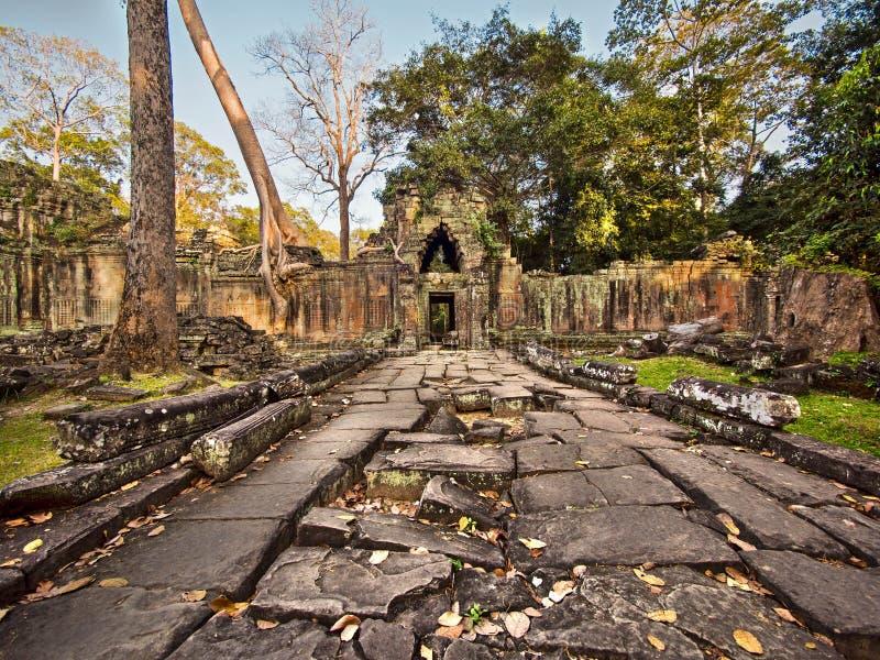 Preah Khan Temple Ruins på Angkor, Cambodja arkivfoton