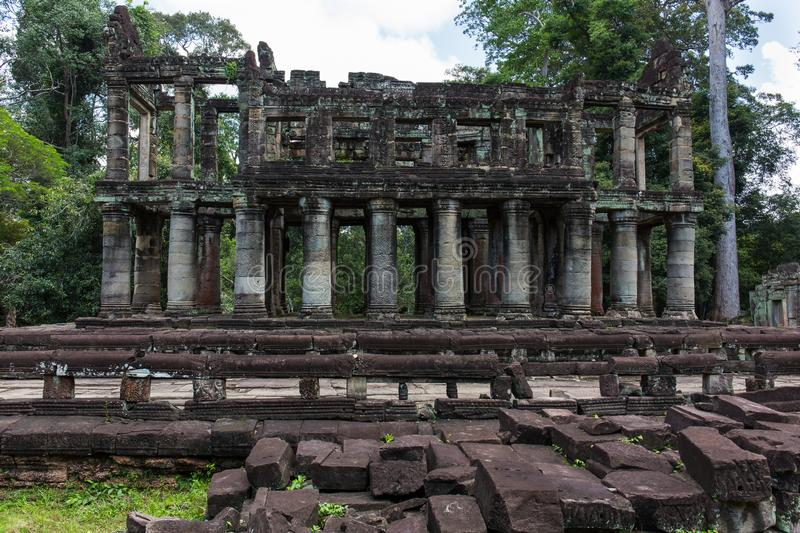 Preah Khan temple. A very strange building in the Preah Khan temple, Cambodia. This building has strong ancient-Roma style stock image