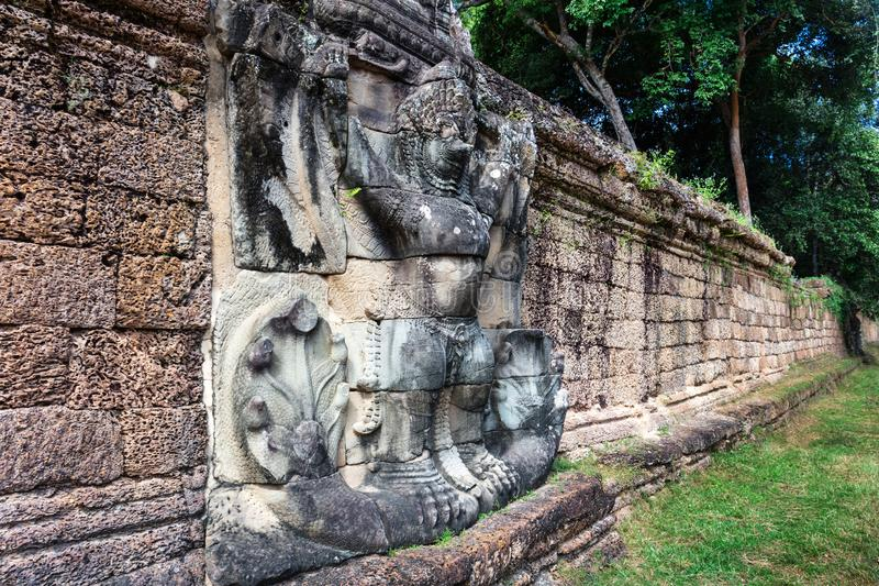 Preah Khan temple wall. In Siem Reap, Cambodia stock photography