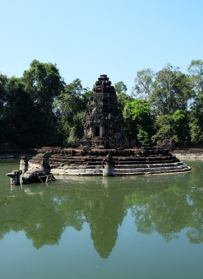 Preah Neak Pean, Siem Reap, Cambodja - ett gammalt sjukhus f?r buddistisk tempel fr?n det sena 12th ?rhundradet Angkor Wat - UNES arkivbild