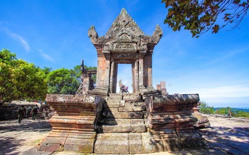 Preah Vihear在位于柏威夏省的Preah Vihear山的寺庙上面柬埔寨 免版税库存图片