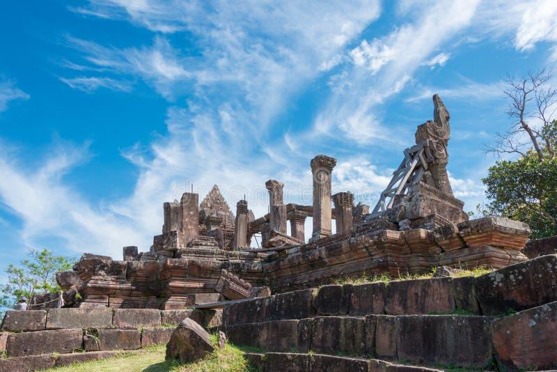 Preah Vihear, Camboja - 3 de dezembro de 2016: Templo de Preah Vihear um fam foto de stock royalty free