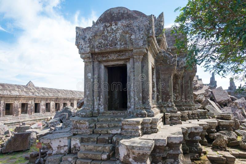 Preah Vihear, Camboja - 3 de dezembro de 2016: Templo de Preah Vihear um fam fotografia de stock