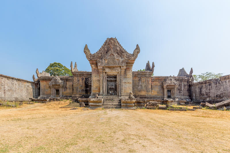 Preah vihear temple golden grass yard royalty free stock photos