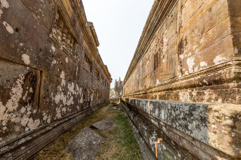 Preah vihear temple side walk stock photo