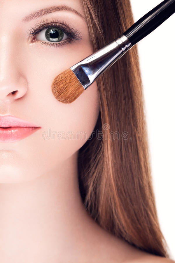 Preatty jonge vrouw met perfecte huid stock foto's