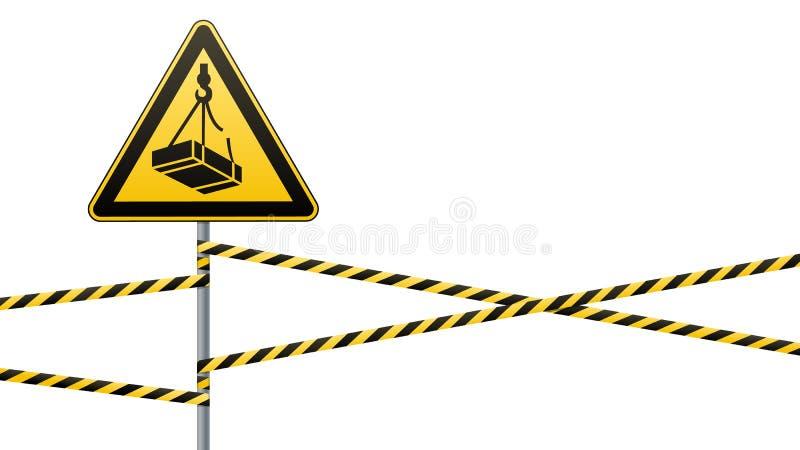 Precaución - caída de mayo del peligro de la altura de la carga Muestra de seguridad muestra triangular en polo del metal con las imagen de archivo