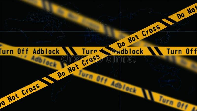 Precaución de Adblock   Haga no cruzado imágenes de archivo libres de regalías