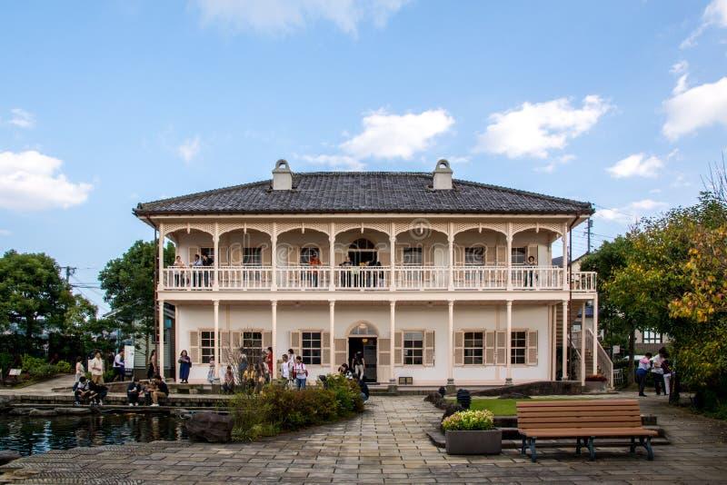 Precedente casa di bacino di Mitsubishi secondo in Glover Garden, Nagasaki, Kyushu, Giappone - 7 ottobre 2017 immagine stock libera da diritti