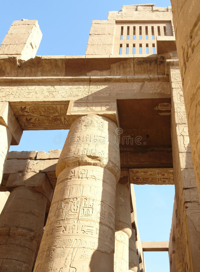 Precinct of Amun-Re in Egypt. Sunny illuminated architectural detail at the Precinct of Amun-Re in Egypt (Africa stock photo