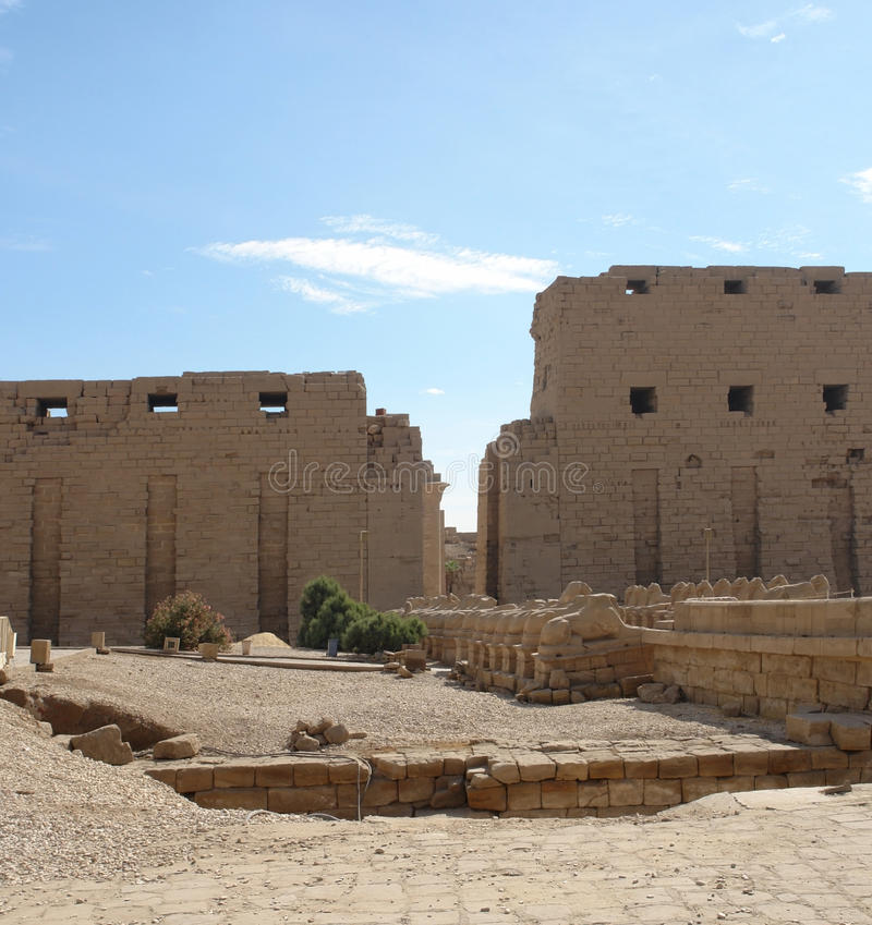 Precinct of Amun-Re in Egypt. Sunny illuminated architectural scenery at the Precinct of Amun-Re in Egypt (Africa royalty free stock image