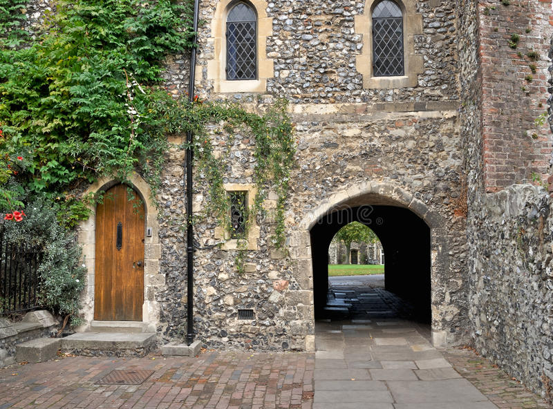Precincts of Canterbury Cathedral stock image