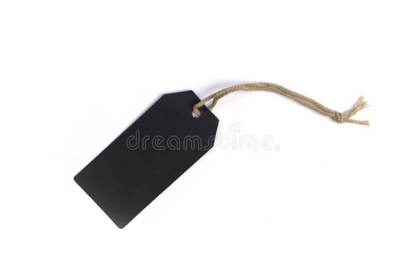 Precio de la cartulina del negro del espacio en blanco o etiqueta de la etiqueta con el hilo aislado en el fondo blanco imagen de archivo libre de regalías