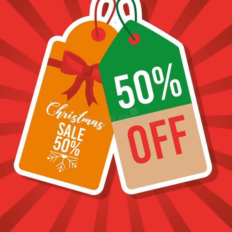 Precio de la etiqueta de la venta de la Navidad el 50 por ciento del márketing stock de ilustración