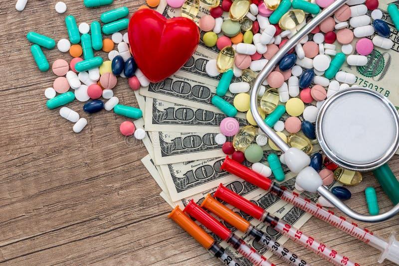 Precio de la salud, de las tabletas, de las jeringuillas y del estetoscopio fotos de archivo libres de regalías