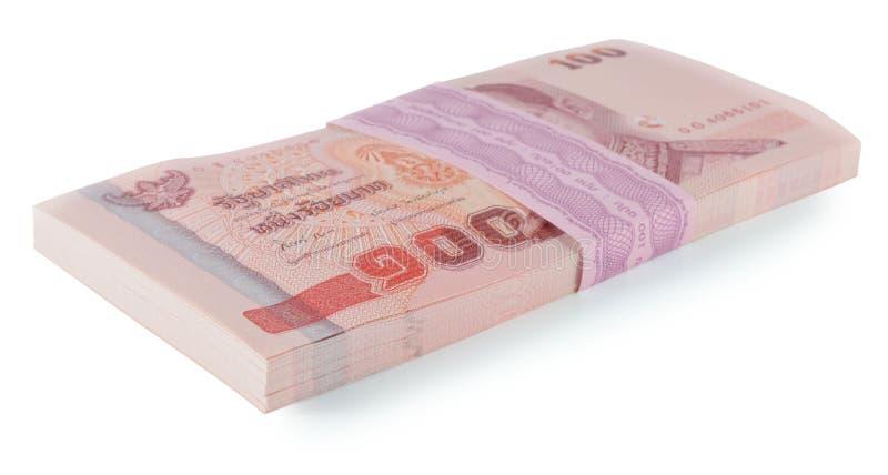 Precio de los billetes de banco de Tailandia de ciento aislado en el backgr blanco fotografía de archivo libre de regalías