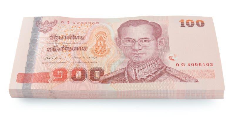 Precio de los billetes de banco de Tailandia de ciento aislado en el backgr blanco imagen de archivo