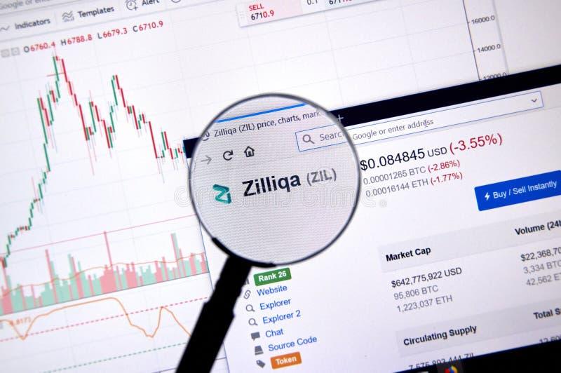 Precio de Zilliqa debajo de la lupa foto de archivo