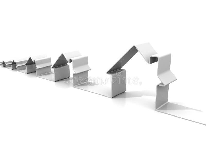 Precio del concepto de las propiedades inmobiliarias que crece con los iconos de la casa libre illustration