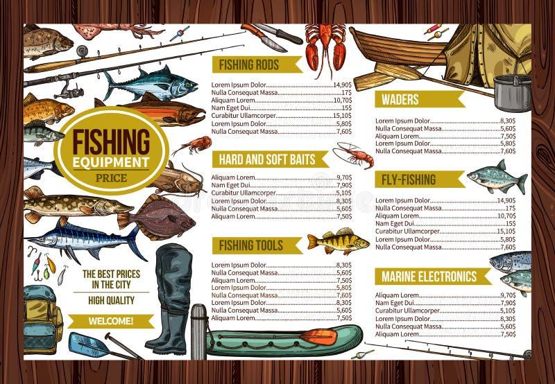 Precio del equipement de la pesca deportiva del pescador del vector libre illustration
