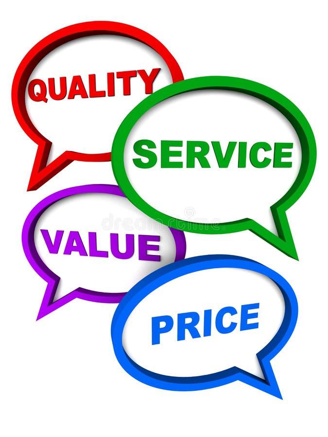 Precio del valor del servicio de calidad ilustración del vector