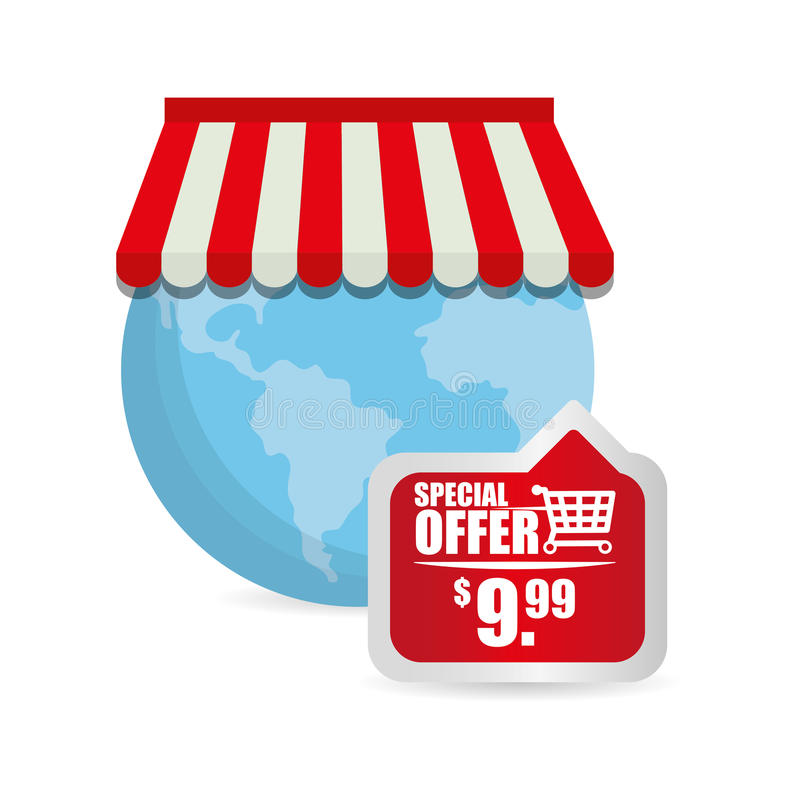 precio en línea de la etiqueta de la tienda del globo de la oferta especial ilustración del vector