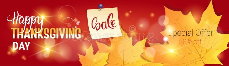 Precio estacional de Autumn Traditional Holiday Shopping Discount de la venta del día de la acción de gracias de la bandera libre illustration