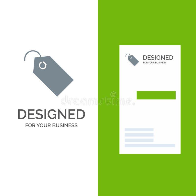 Precio, etiqueta, etiqueta, boleto Grey Logo Design y plantilla de la tarjeta de visita stock de ilustración