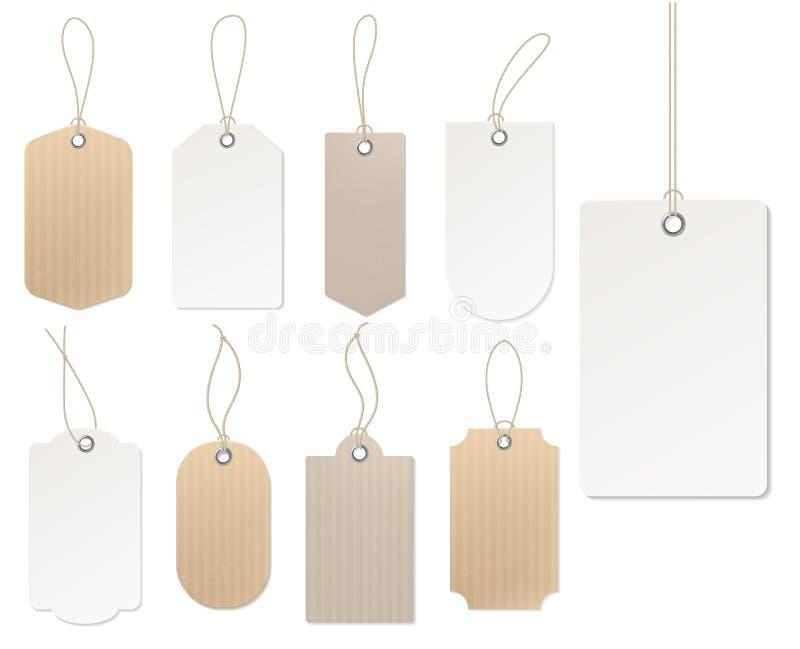 Precio realista Etiqueta de la cartulina, etiquetas engomadas vacías del regalo de la plantilla de las etiquetas del espacio en b libre illustration