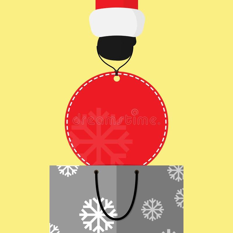 Precio rojo redondo grande de la pequeña de Papá Noel elevación de la mano del panier gris Diseño del vector del fondo libre illustration