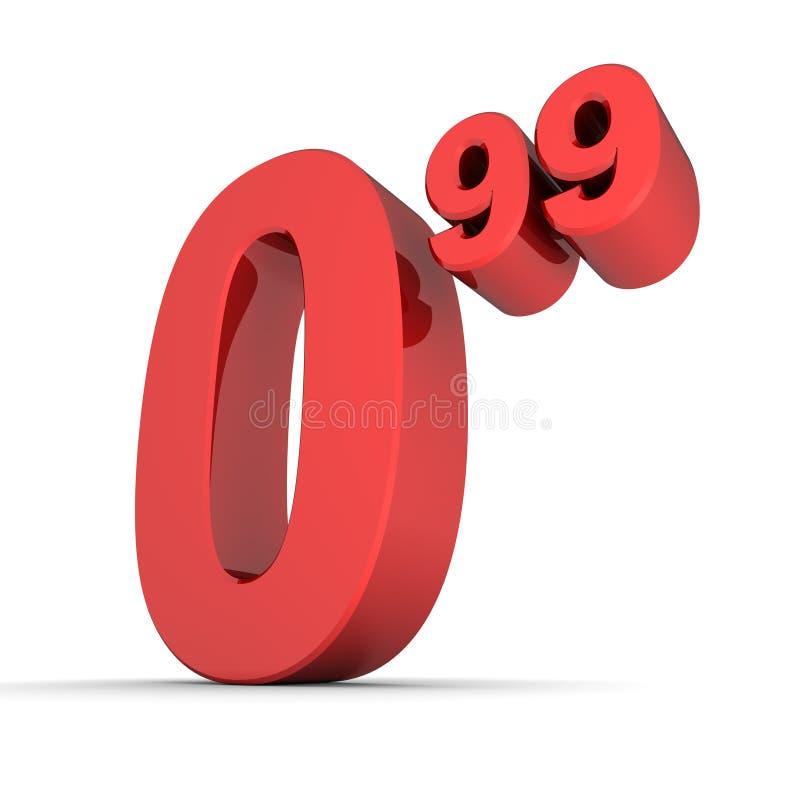 Precio sólido número 0.99 - rojo brillante stock de ilustración