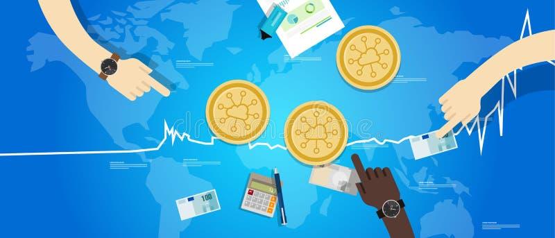 Precio virtual digital del valor de intercambio del aumento del storj de la moneda de Storjoin encima del azul de la carta ilustración del vector